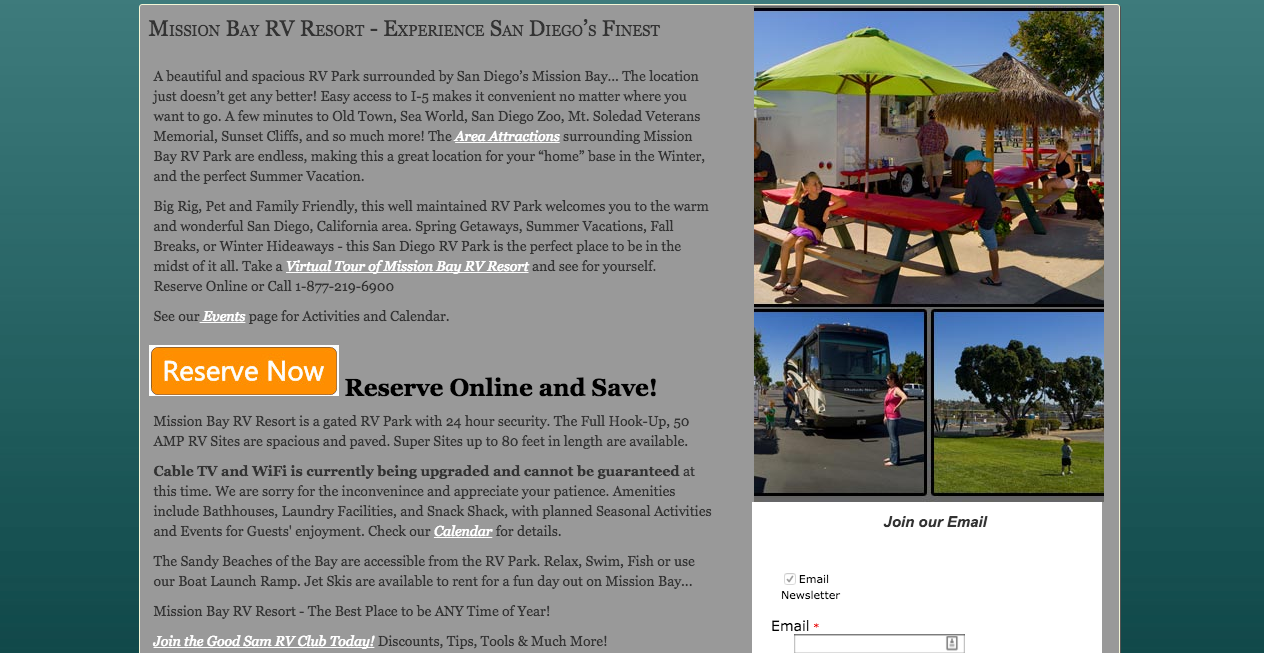 Mission Bay Best RV Websites