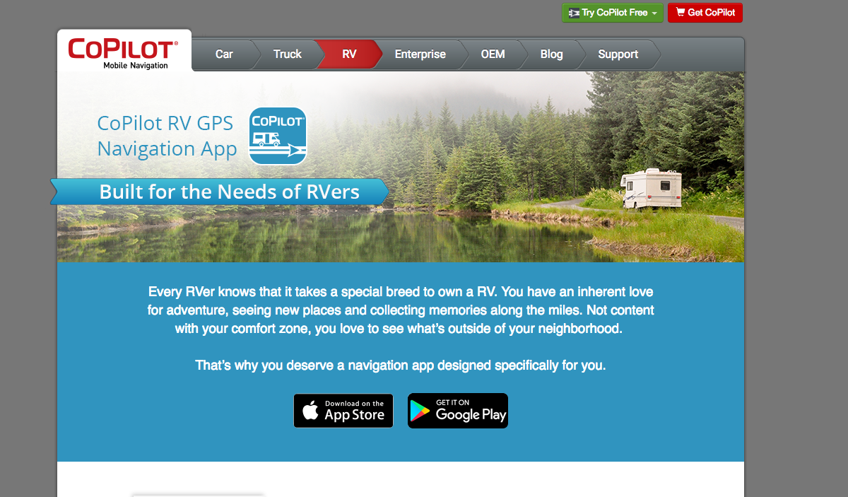 CoPilot GPS Navigation for RV parks